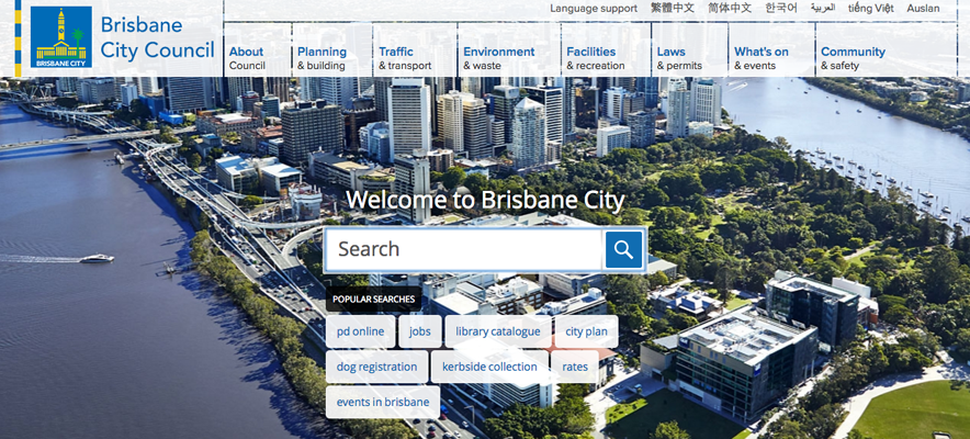 Website localisation samples 3: screenshot of Brisbane City Council website