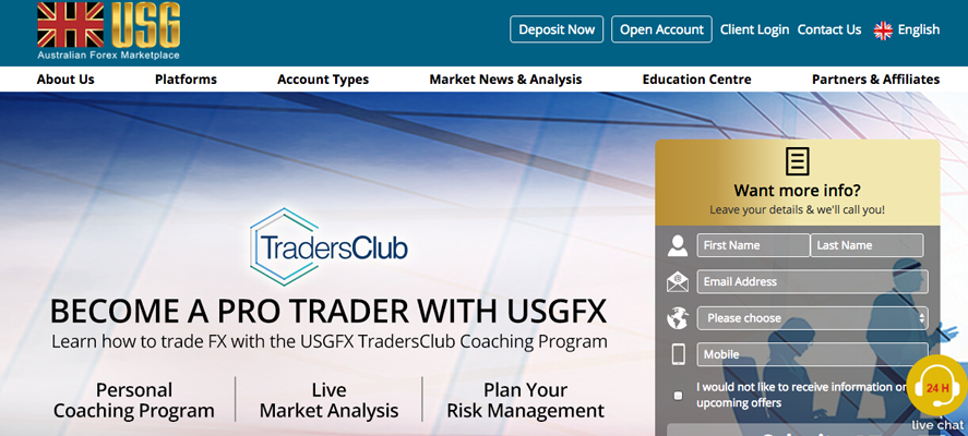 Website localisation samples 4: screenshot of USG website