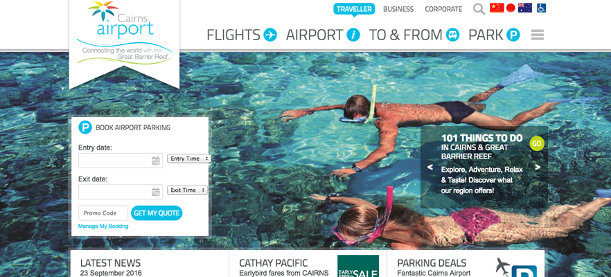 Website localisation samples 5: screenshot of Cairns Airport website