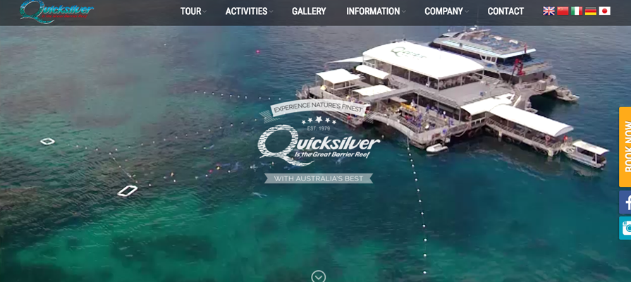 Website localisation samples 6: screenshot of Quicksilver website