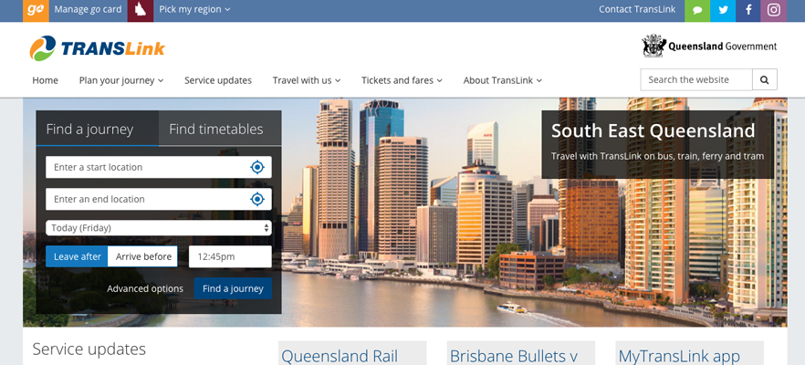 Website localisation samples 2: Translink website