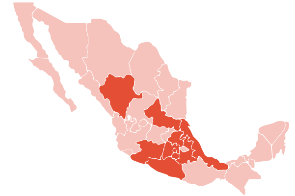 Nahuatl language map